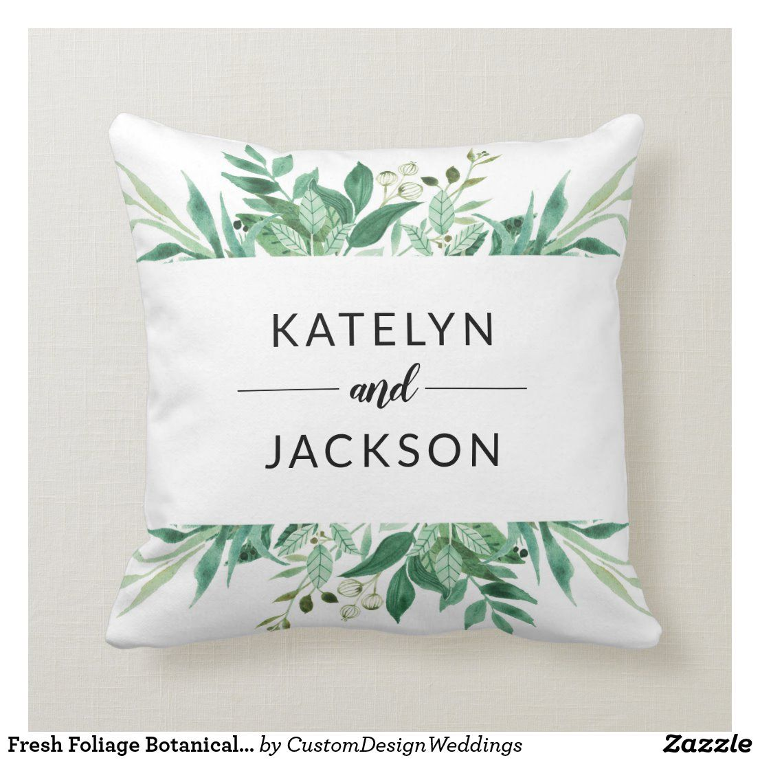 Fresh Foliage Botanical Bride Groom Monogram Throw Pillow Zazzle Com Monogram Throw Pillow Ring Bearer Wedding Wedding Ceremony Ring Bearer