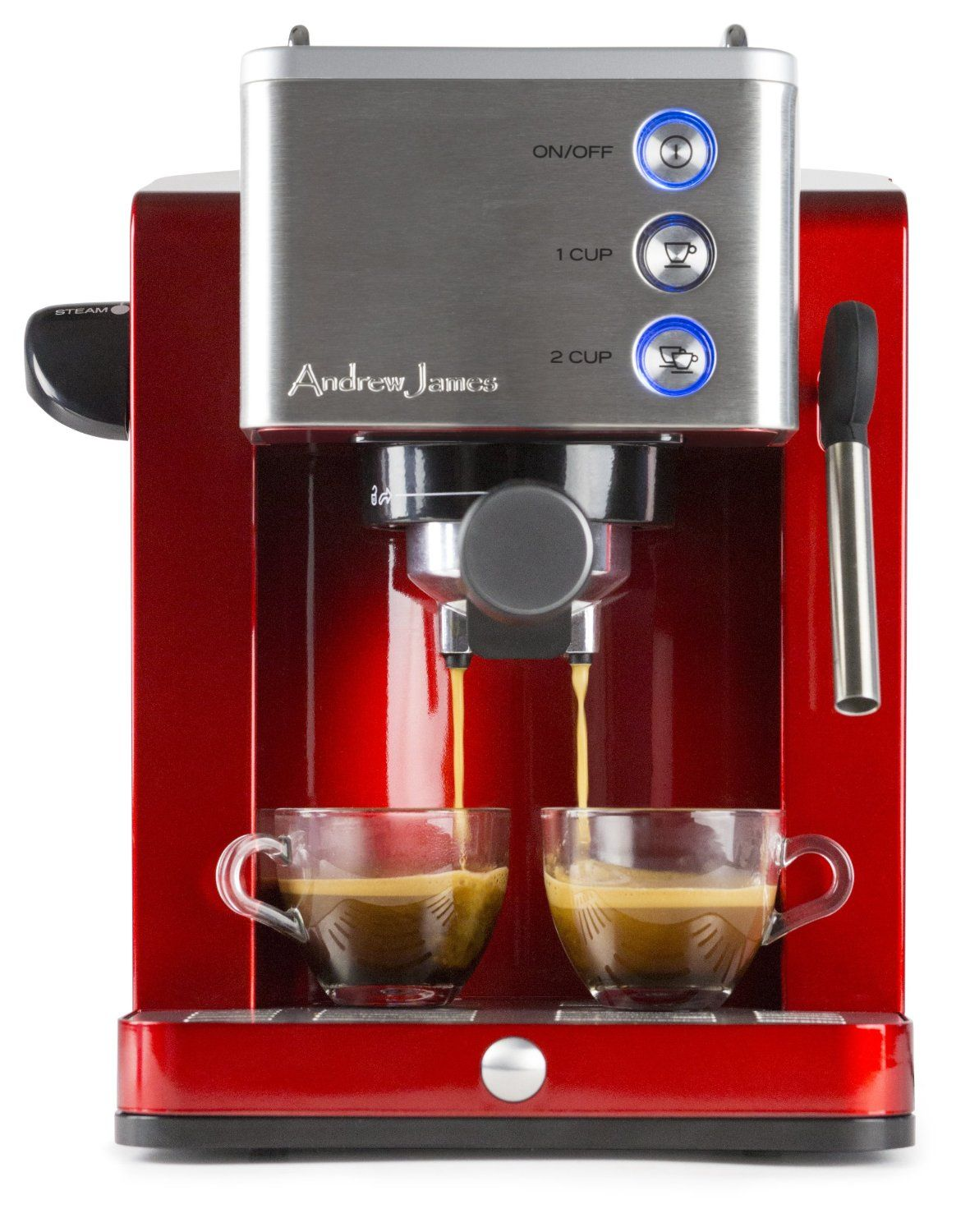 Uncategorized Andrew James Kitchen Appliances andrew james espresso cappuccino coffee maker in stunning red and stainless steel with cup warmer