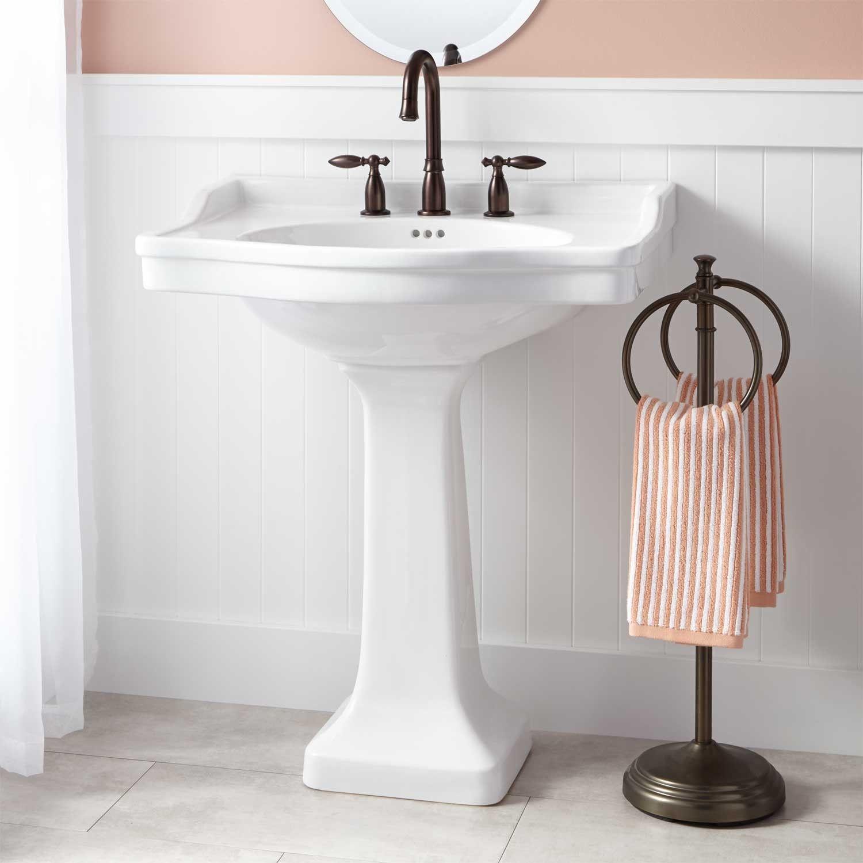 Cierra Large Porcelain Pedestal Sink Bathroom Sinks