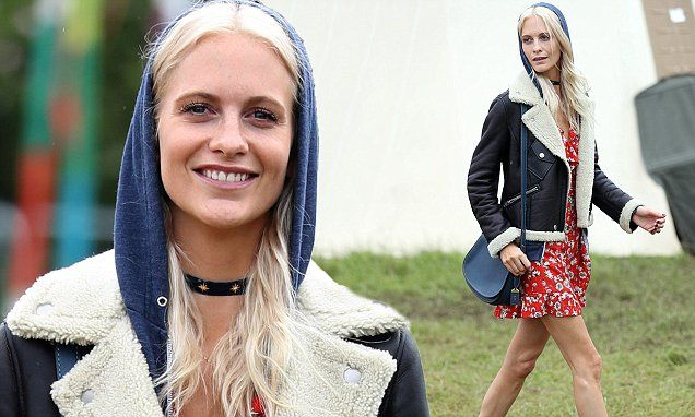 The model, 30, didn't let the dreary British summer dampen her spirits as she partied up a storm at Glastonbury Festival at Worthy Farm in Pilton, Somerset, on Friday.