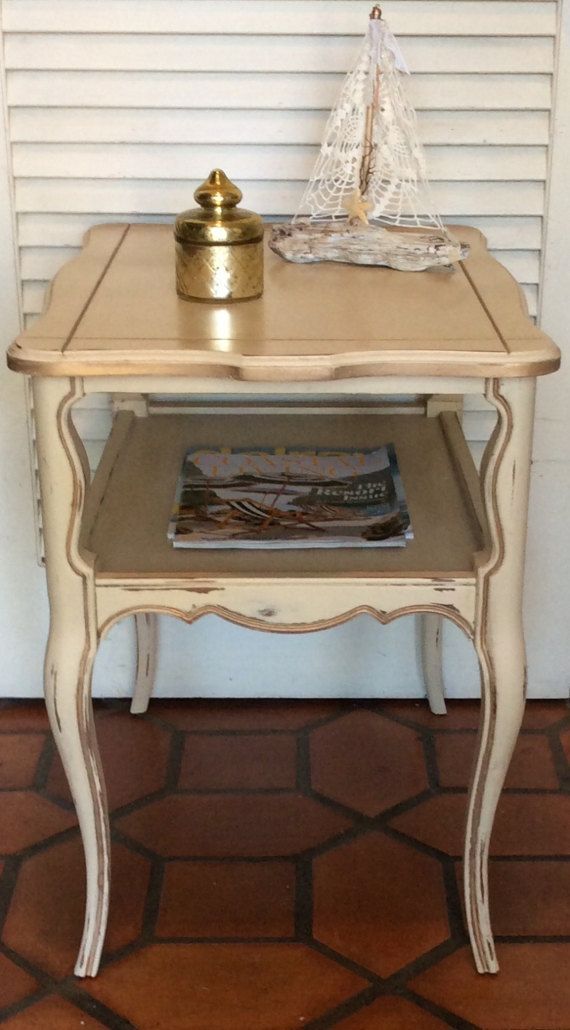 Charmant Vintage French Provincial Cream End Table By RevisitedConcepts