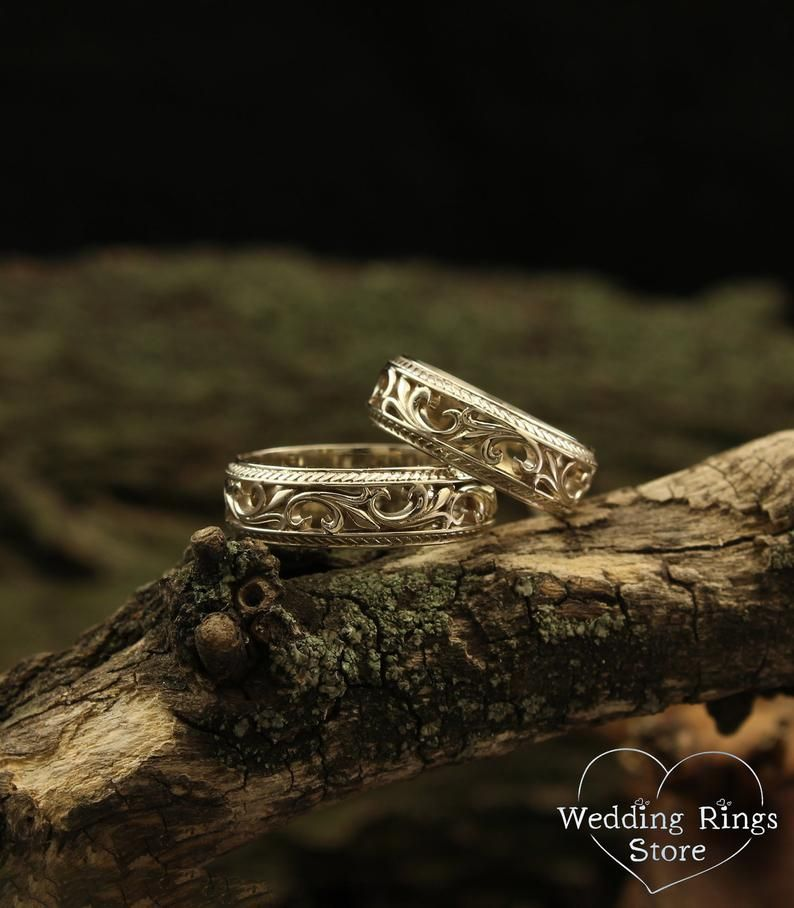 White Gold Wedding Bands Filigree Wedding Rings Nature Wedding
