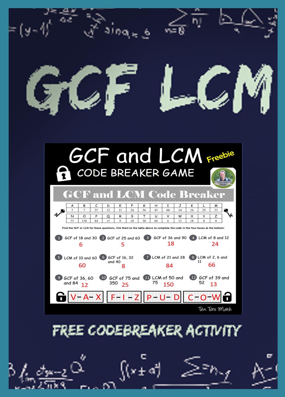 Gcf And Lcm Code Breaker Activity