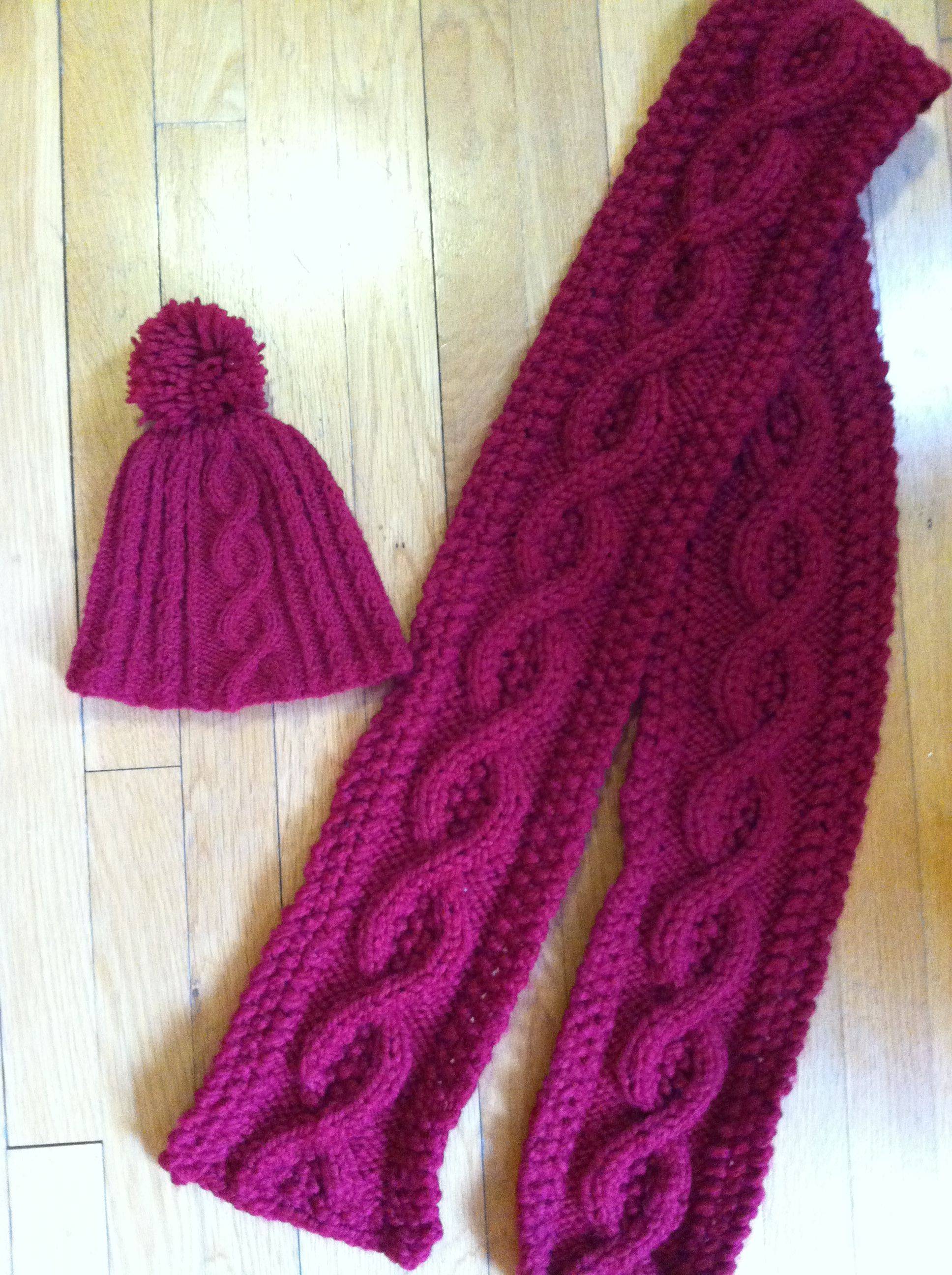 Knitted Cable Hat and Scarf, cranberry, oxblood, bulky