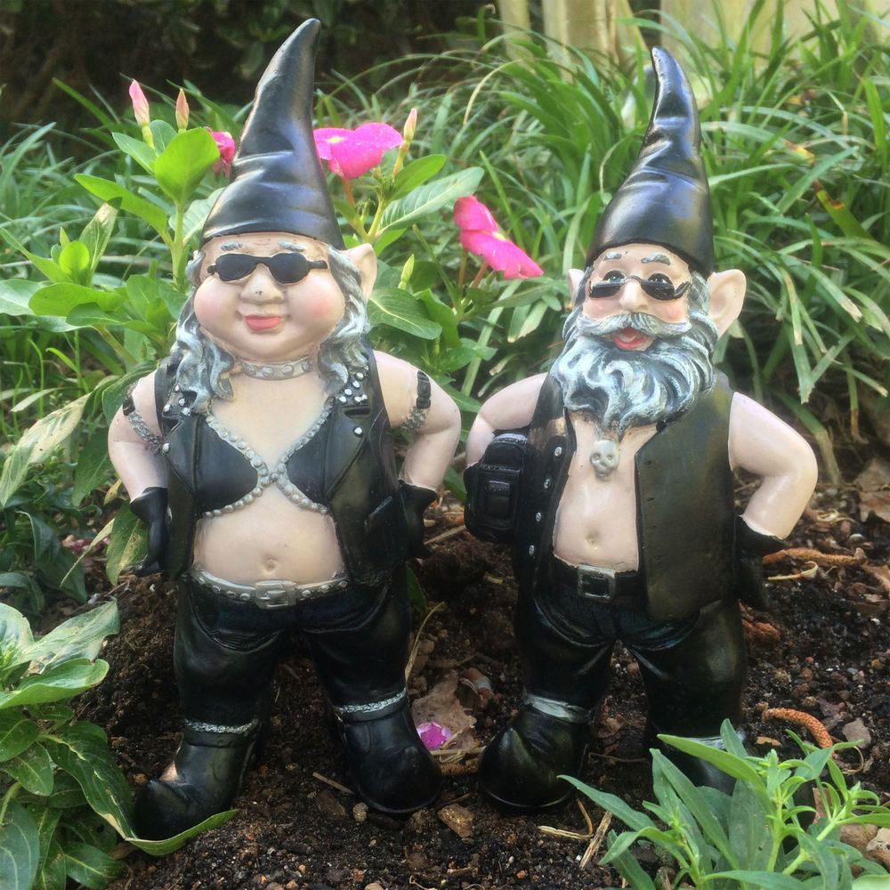 Biker Gnomes Garden Gnome Set in Leather Decorations Outdoor ...