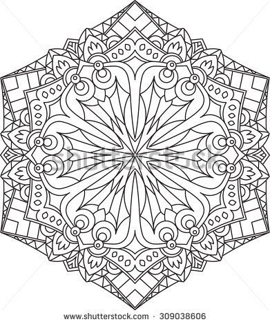 Abstract Vector Black Round Lace Design In Mono Line Style