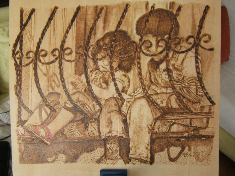 kids...Pyrography on plywood.