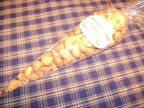 Cinnamon Frosted Cashews by SweetsbyDenise on Etsy, $3.50