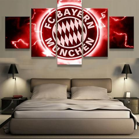 5 panel fc bayern munchen sports team logo framed canvas wall art home decor fgfgfggf pinterest. Black Bedroom Furniture Sets. Home Design Ideas