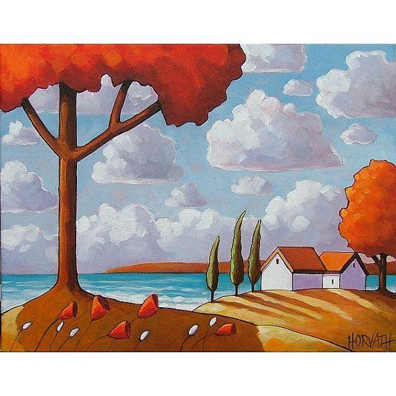 PAINTING ORIGINAL Folk Art Seaside Red Tree Modern Coastal Abstract Landscape Ocean Cottage Fine Art Horvath Buchanan