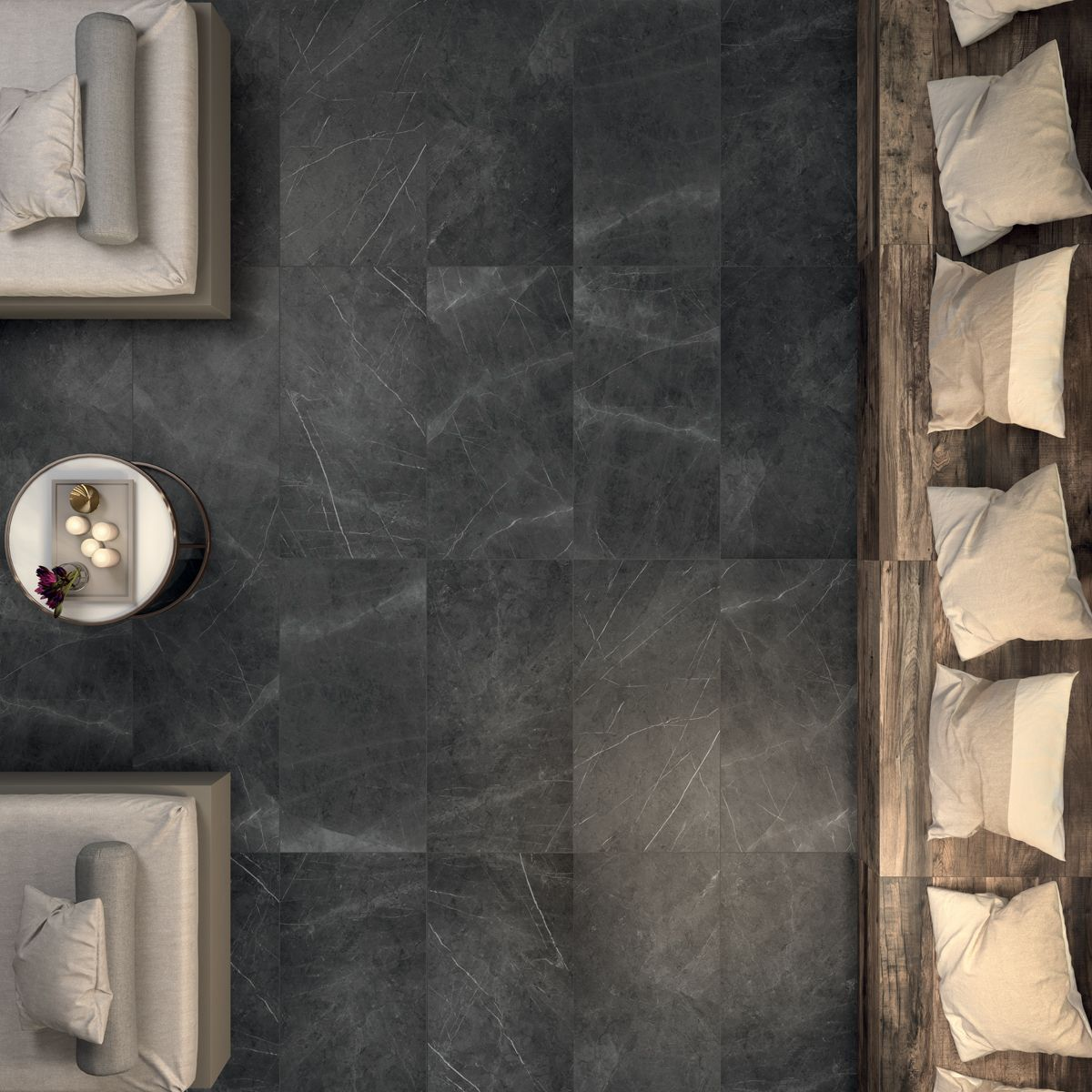 Leleganza del pavimento sensi pietra grey sabl 60x120 cm di sensi recreates the appeal of the original natural stone with two different kinds of surface treatment manual sanding and polishing interpreted by abk dailygadgetfo Images