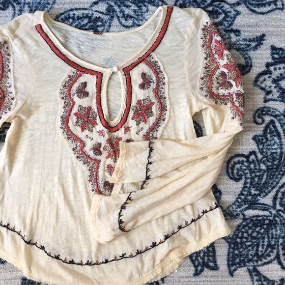 Free People Yellow Embroidered Blouse Flowy and fun yellow Free People top. Excellent condition. Adorable embroidery. Fits size s/m. Free People Tops Blouses