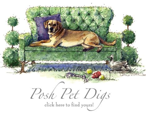 Yellow Lab on Topiary Tufted Sofa by Michelle Masters