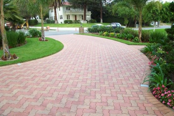 Great Home Design, Fascinating Design Ideas Driveway With Rectangular Red Paving  Stone: Surprising Creation About Paving Stone Design Ideas For Your Great  House