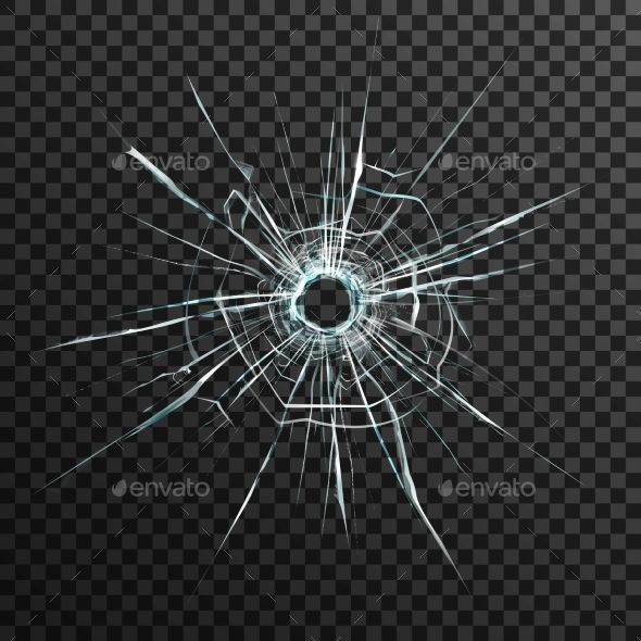 Bullet Hole In Transparent Glass Bullet Holes Abstract Backgrounds Business Vector Illustration