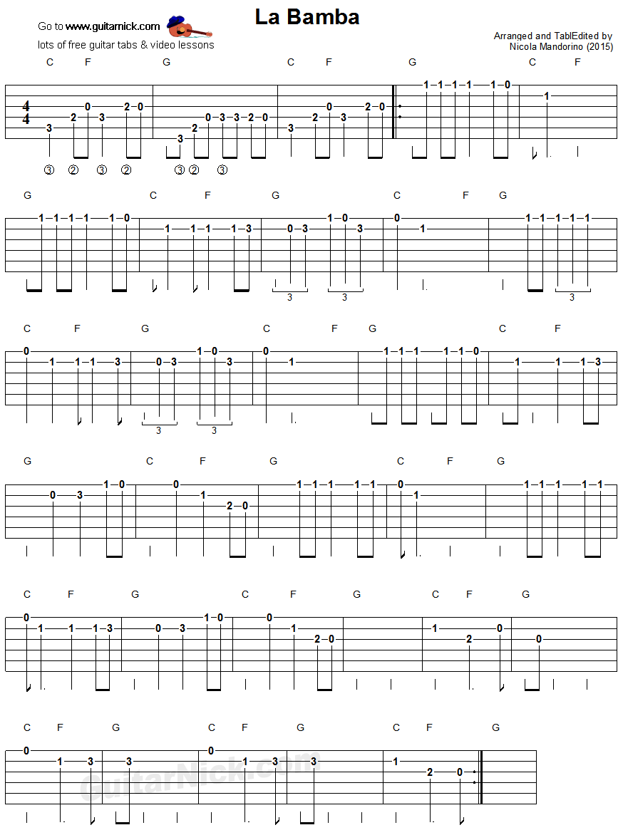 La Bamba: easy guitar tablature | mi casa | Pinterest | Gitarre ...
