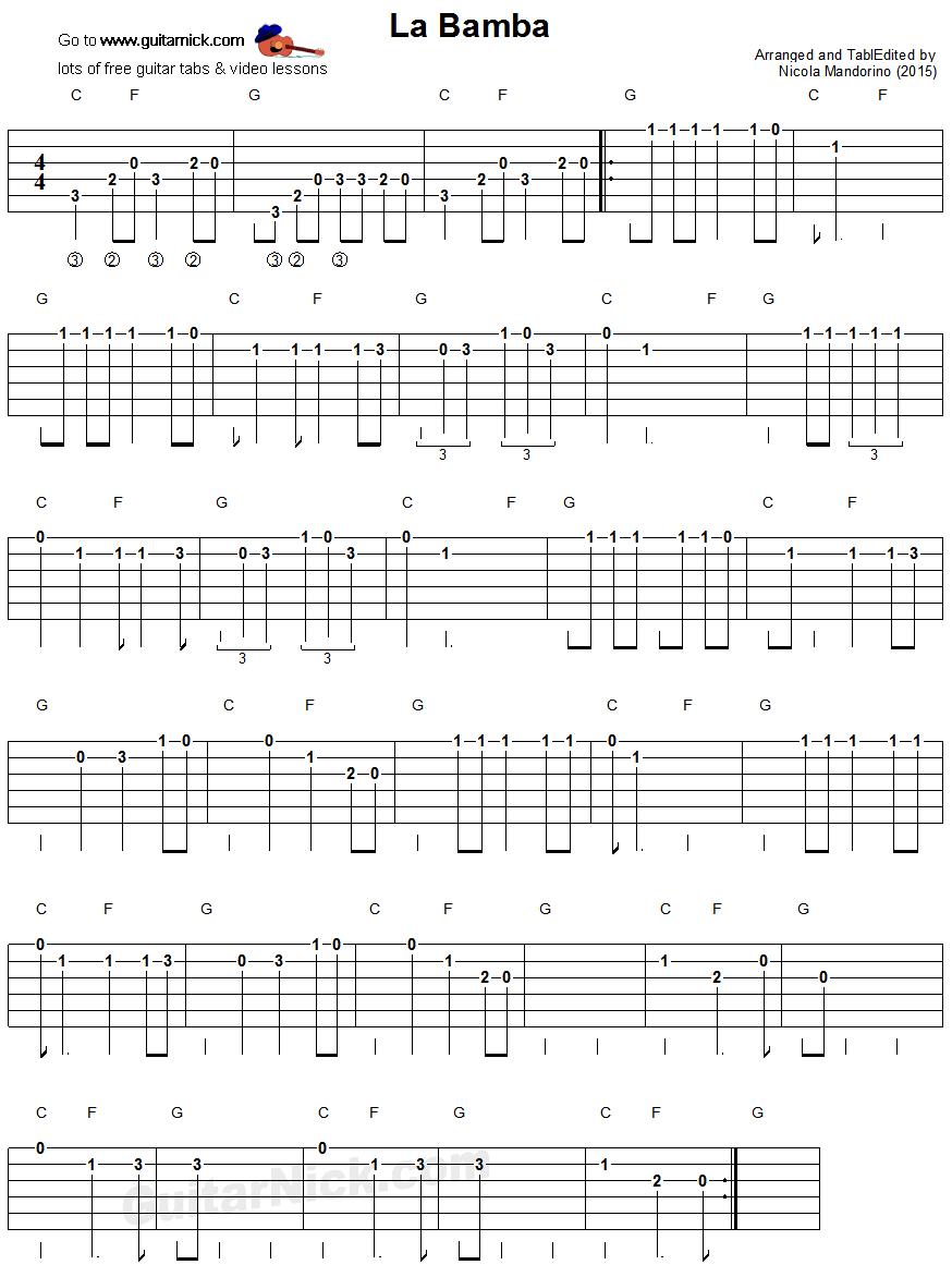how to play la cucaracha on guitar tabs