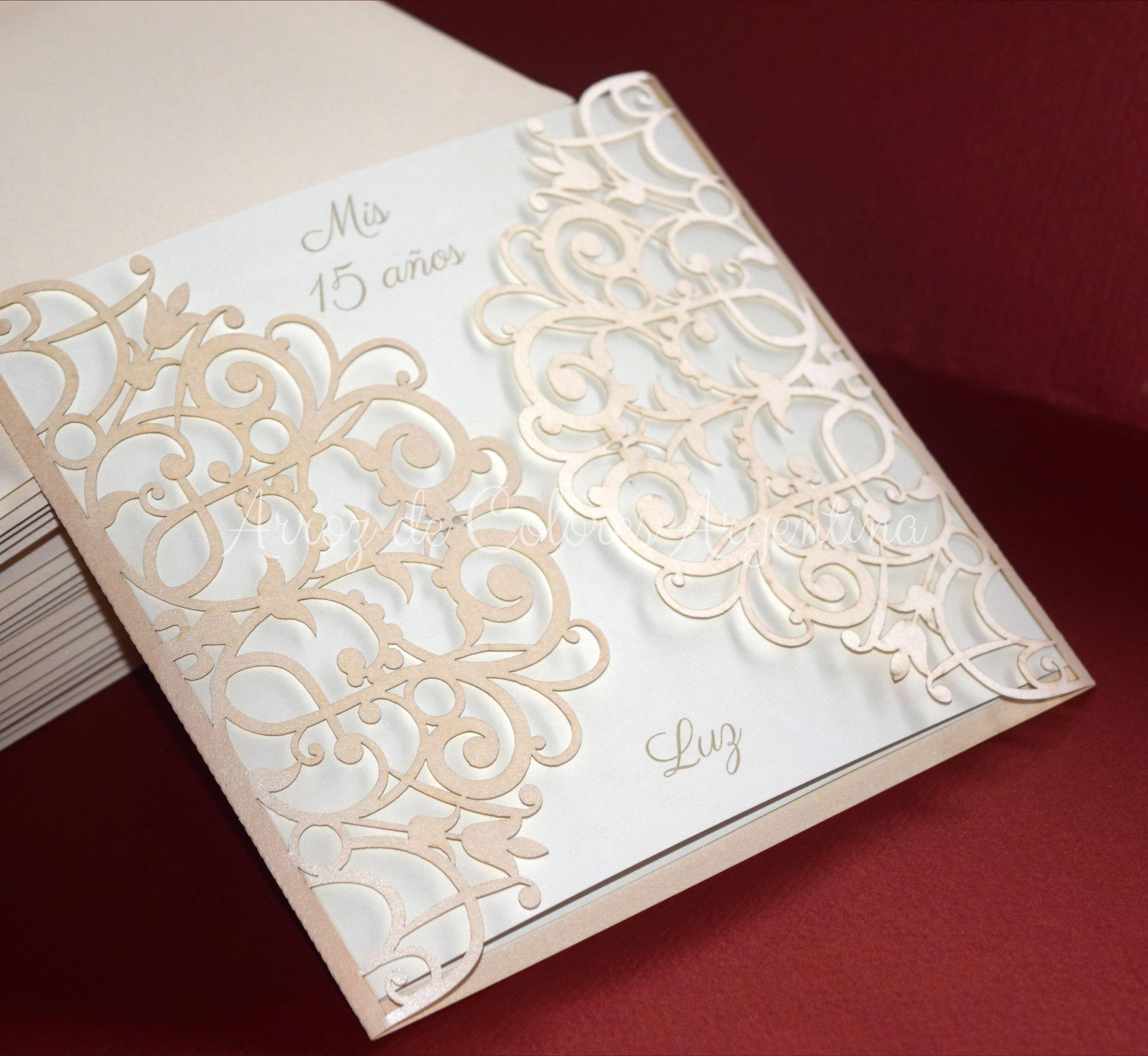 vintage wedding card design template%0A Participaci  n    a  os   dulces    calado l  ser    Laser cut invitation   sweet