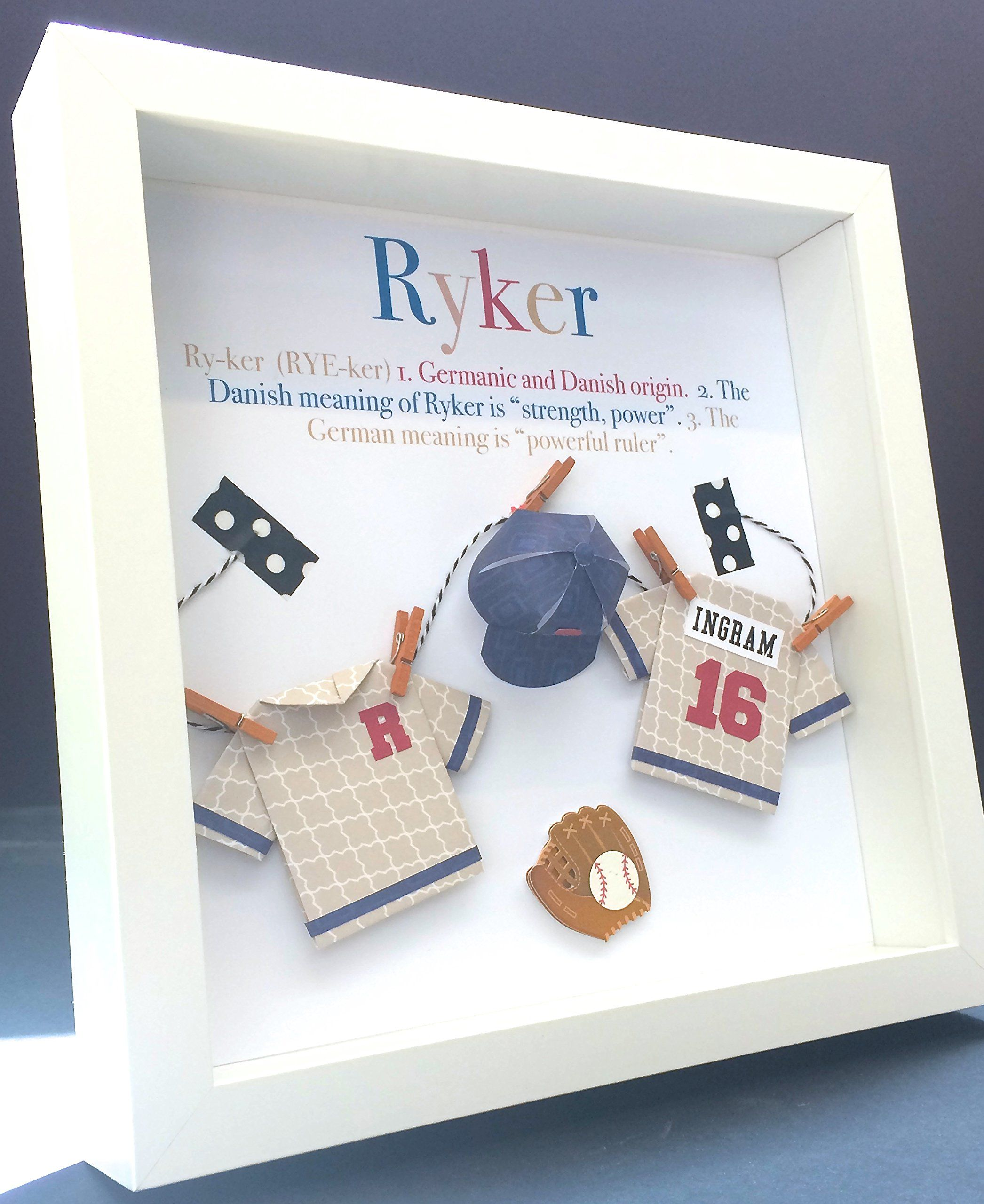 Personalized Name Origin And Meaning Paper Origami Baseball Shadowbox Frame  Custom Art Child Or Newborn Baby