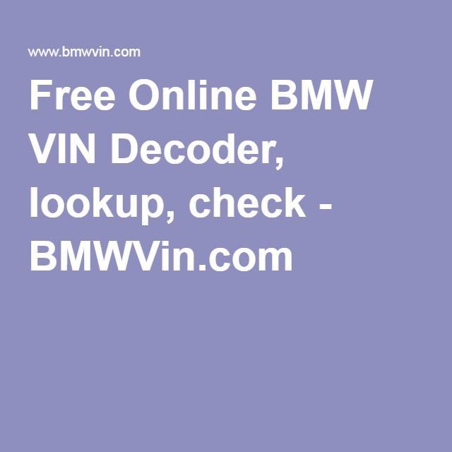 Free Online BMW VIN Decoder, lookup, check - BMWVin com