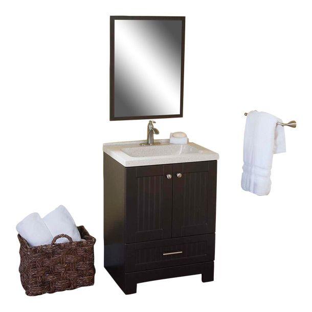 Gabinete country de 3 piezas color espresso incluye lavabo for Gabinete de almacenamiento de bano barato