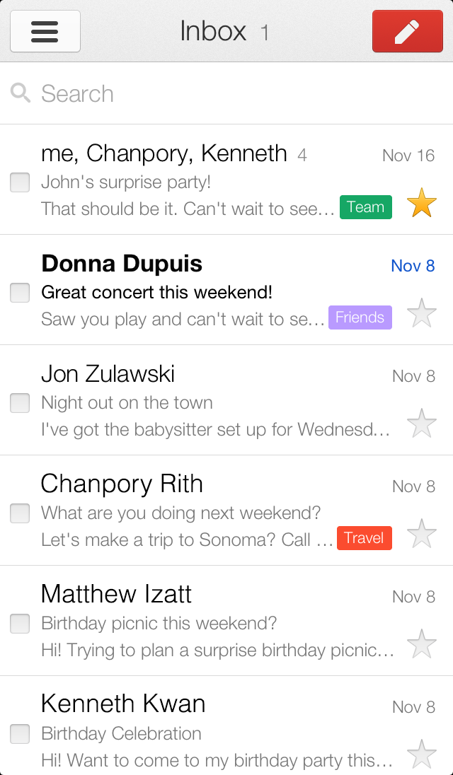 The Gmail app for iPhone and iPad version 2.0 App