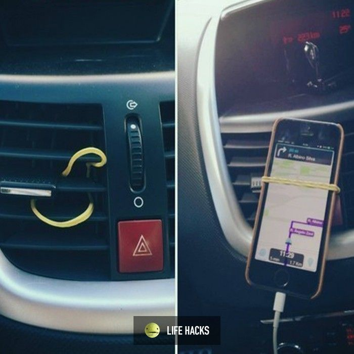 Use A Rubber Band To Mount Your Cell Phone In Your Car Car