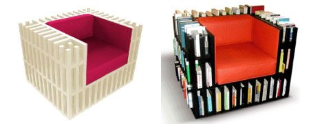 The Bibliochaise This Book Chair Simply Integrates A Series Of - Bookchair combined with bookshelf