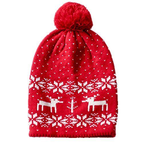 Home Prefer Baby Girls Boys Kids Fair Isle Christmas Hats Reindeer ...