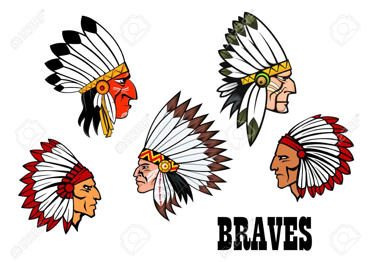 31443251 Olorful Cartoon Native American Indian Braves Heads Wearing Feathered Headdresses Side View In Prof St Atlanta Braves Wallpaper Brave Wallpaper Indian