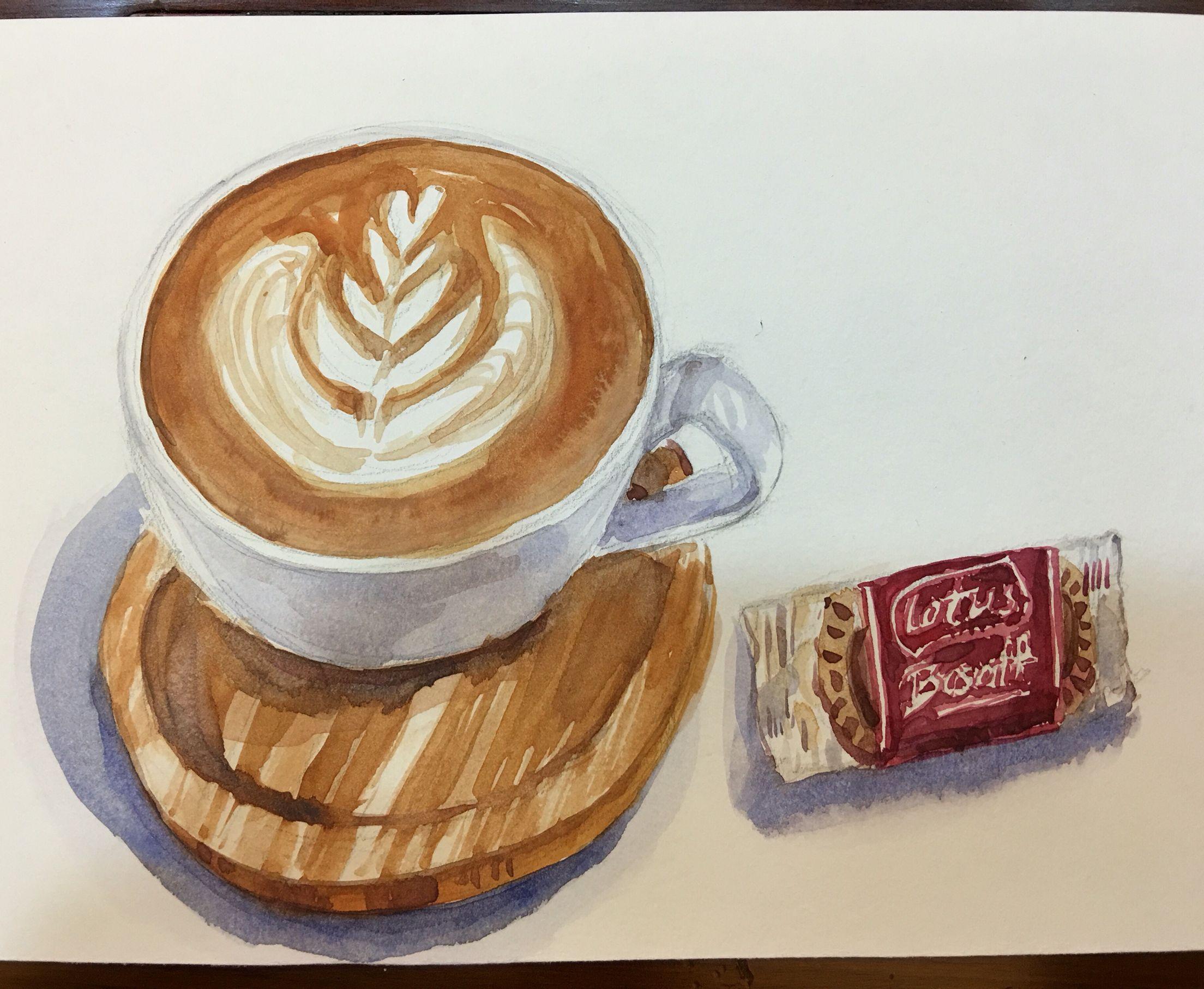 #拿鐵咖啡#水彩練習