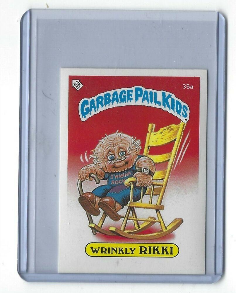 1985 Garbage Pail Kids 1st Series 1 Wrinkly Rikki 35a Uk Mini Gpk Topps Os1 Nm Garbage Pail Kids Minted Card Cards