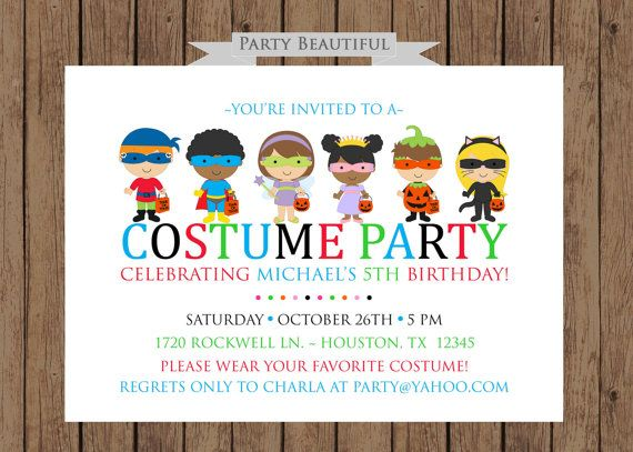Costume Party Birthday InvitationBoys Halloween Party Printable – Dress Up Party Invitations