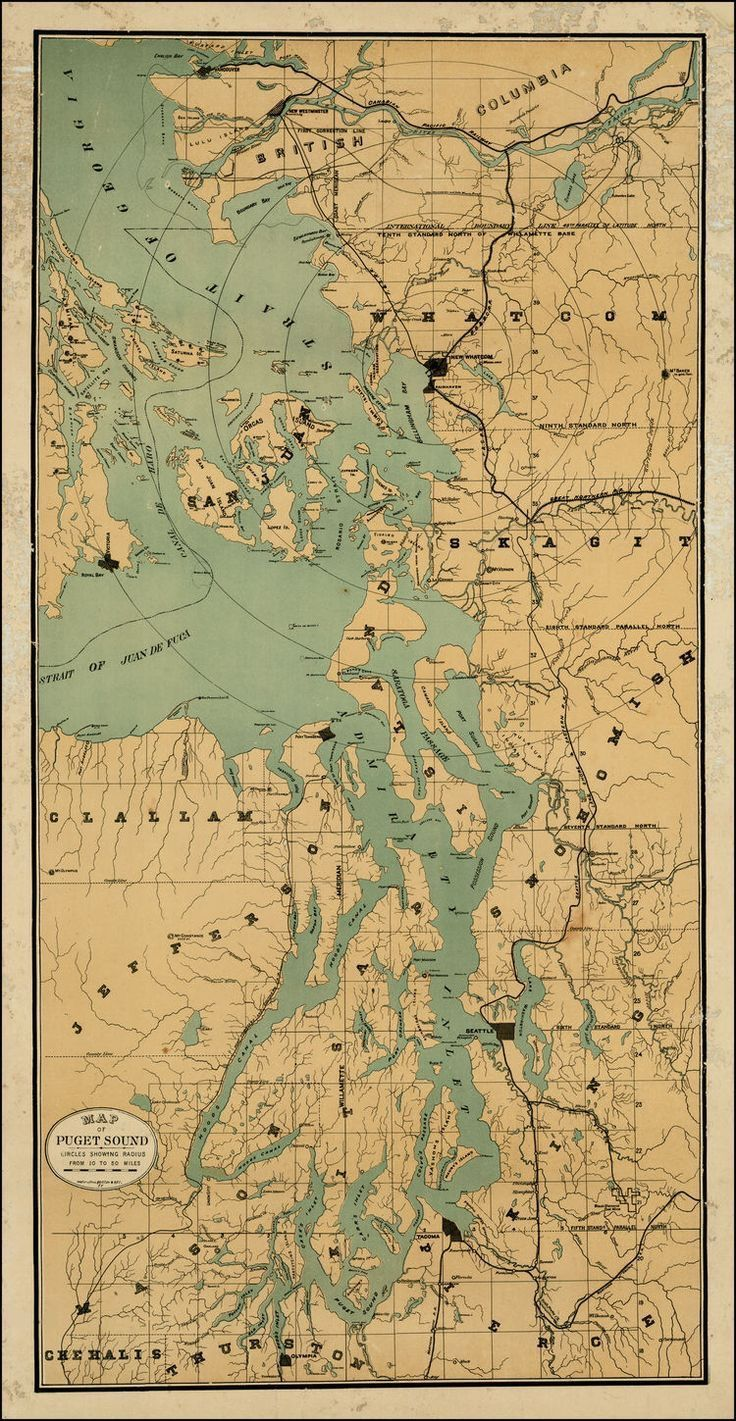 Antique Map Of Puget Sound Map Wallpaper Seattle Map