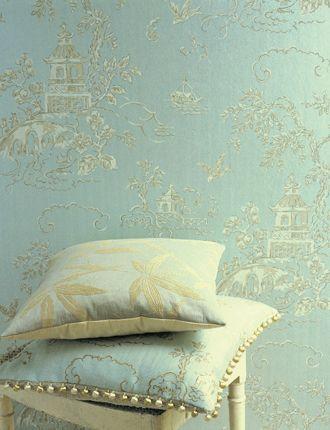 Aquamarine chinoiserie wallpaper, 'Chinese Bridges' by GP ...