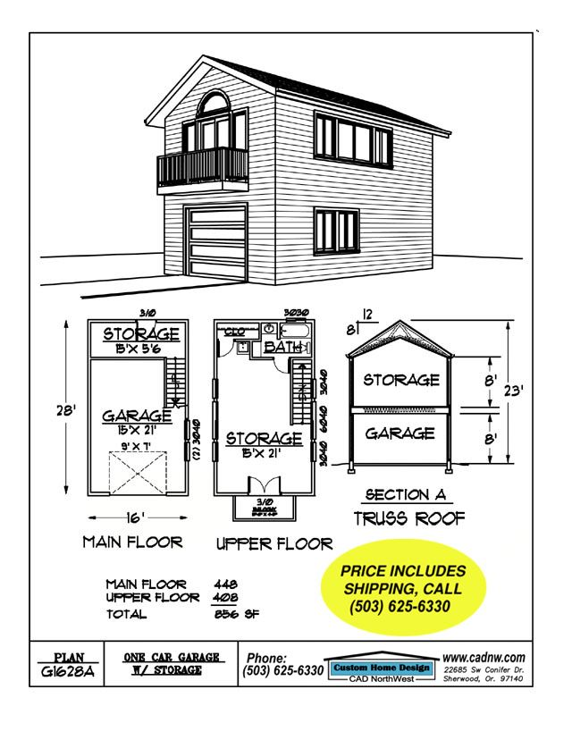 2 story single garage plan house pinterest garage for Single story garage apartment