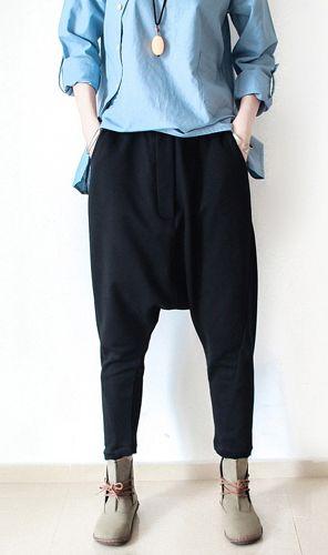 Black Cotton Pants Plus Size Loose Pants Harem Pants With Images Cotton Pants Loose Pants Black Cotton