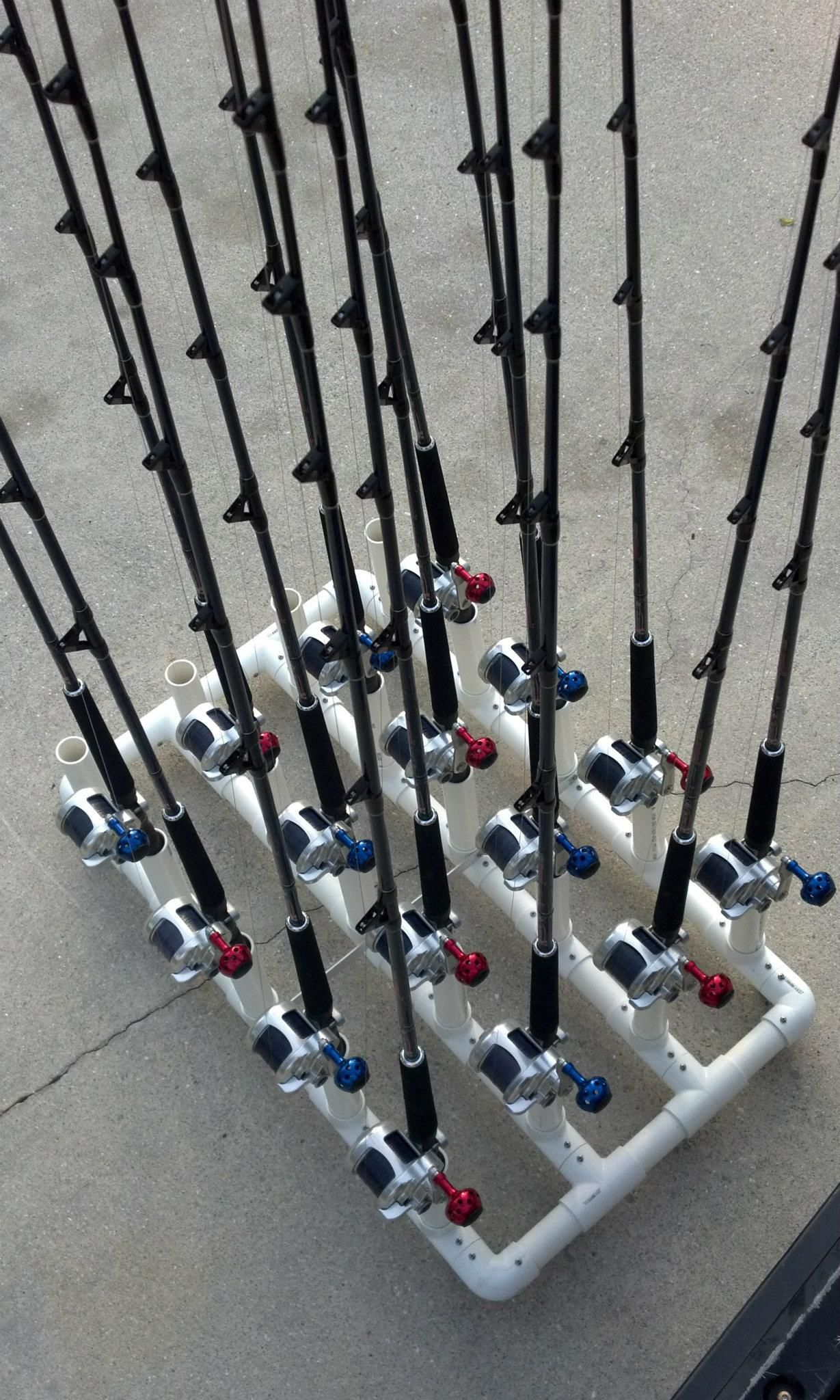 Pvc fishing rod holder ideas fishing rod holder for Homemade fishing rod storage ideas