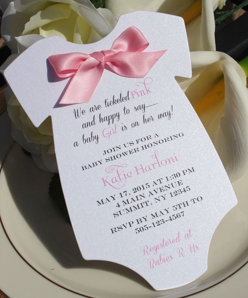 Baby Shower Invitation For In Shape Of Onesie With Pink Satin Bow Babyshower