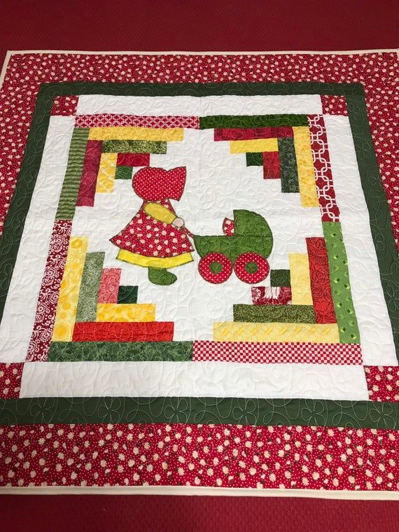 New Sun Bonnet Sue appliqué Crib Quilt with soft snuggles backing 42 by 42