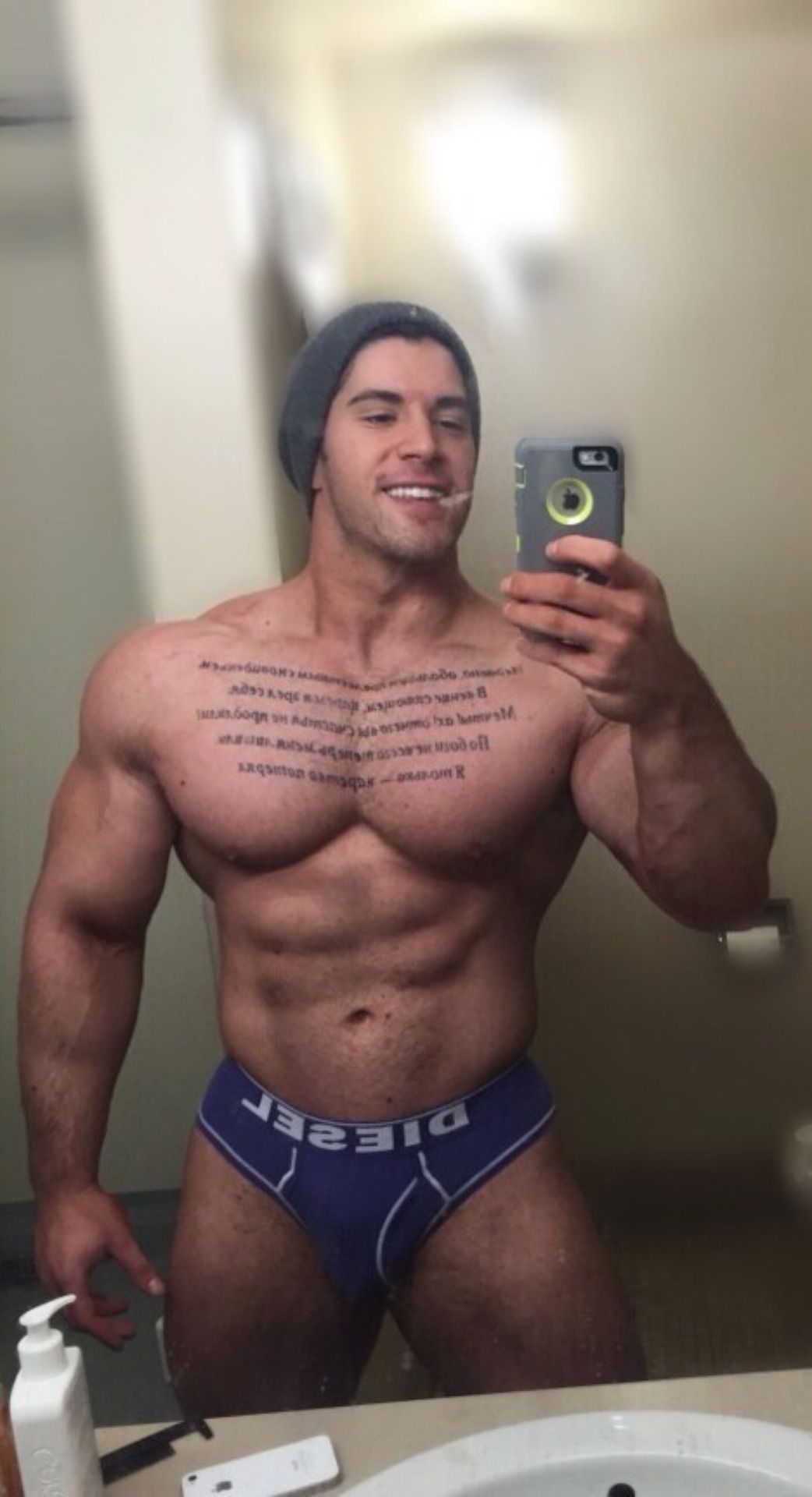 "hotguysabound: "" What does the novel on his chest say"