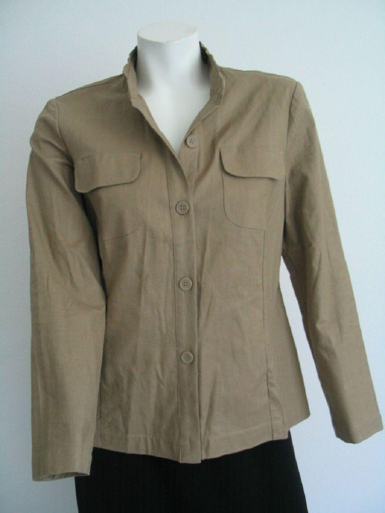 CAROLE LITTLE Safari Blazer Jacket Khaki Beige Linen Cotton Blend Size 6 NWOT #CaroleLittle #BasicJacket