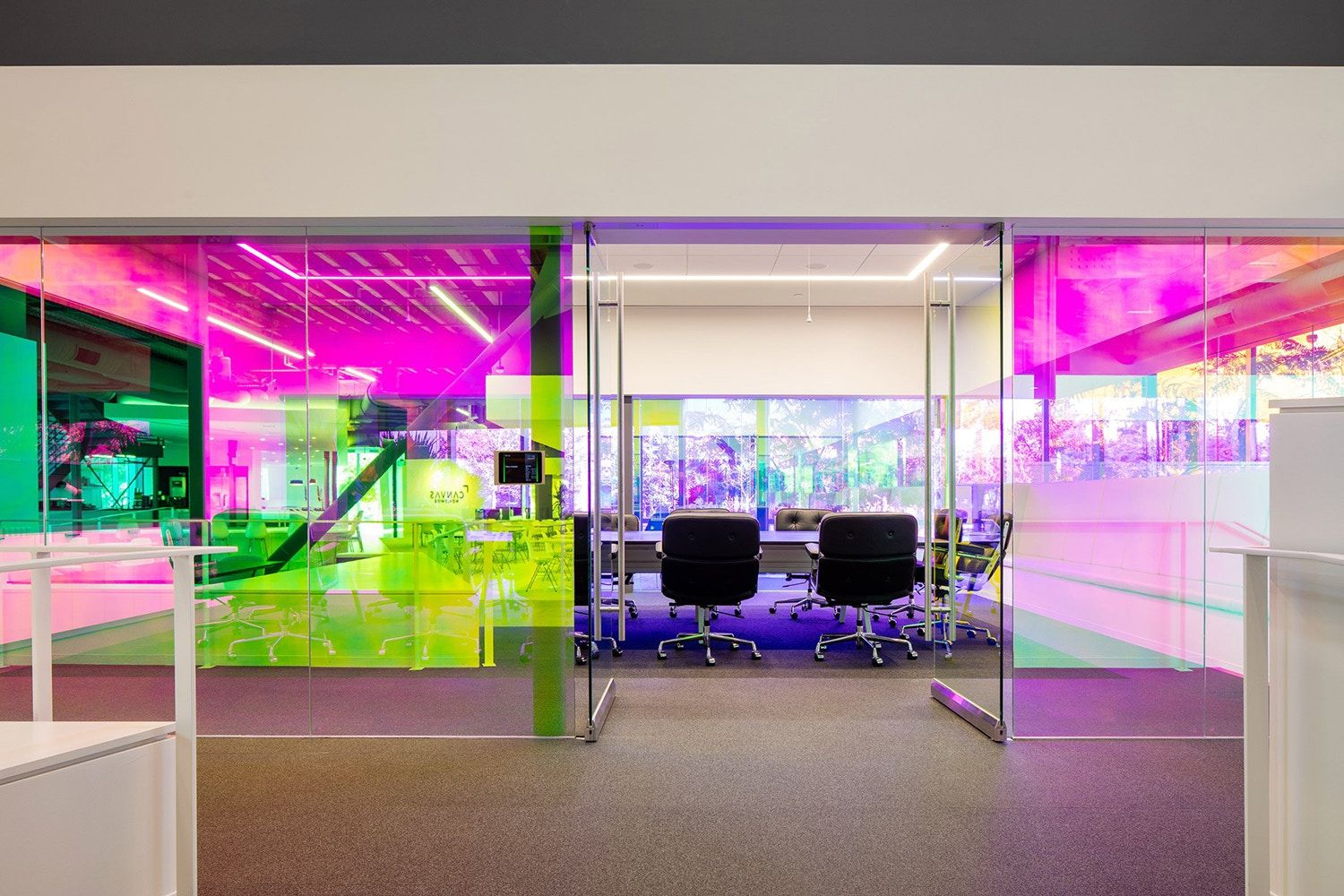 A i architects canvas agency architecture design colorful dichroic glass workspace los angeles commercial interior