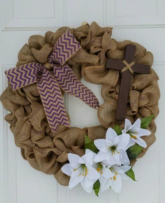 Photo of Easter Cross Wreath / Cross Wreath / Easter Burlap Wreath / Easter Lily Wreath / Christian Wreath /