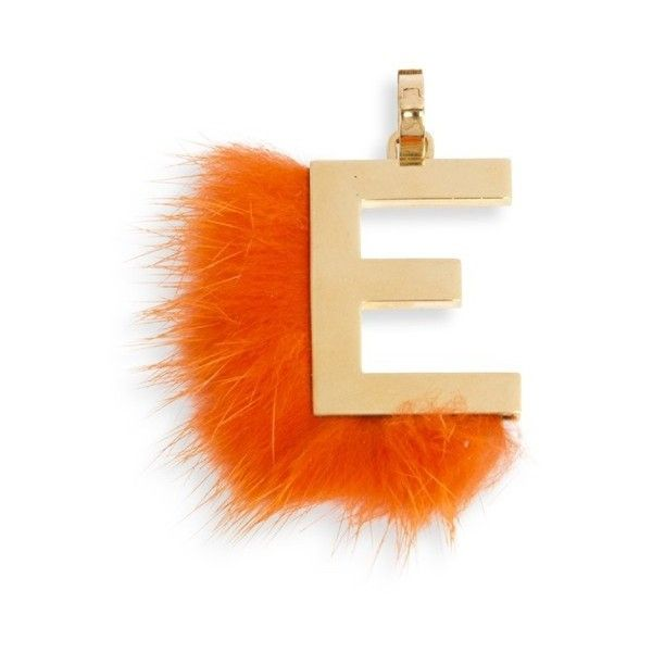 Fendi mink fur trimmed initial charm 20730 rub liked on for Fendi letter keychain