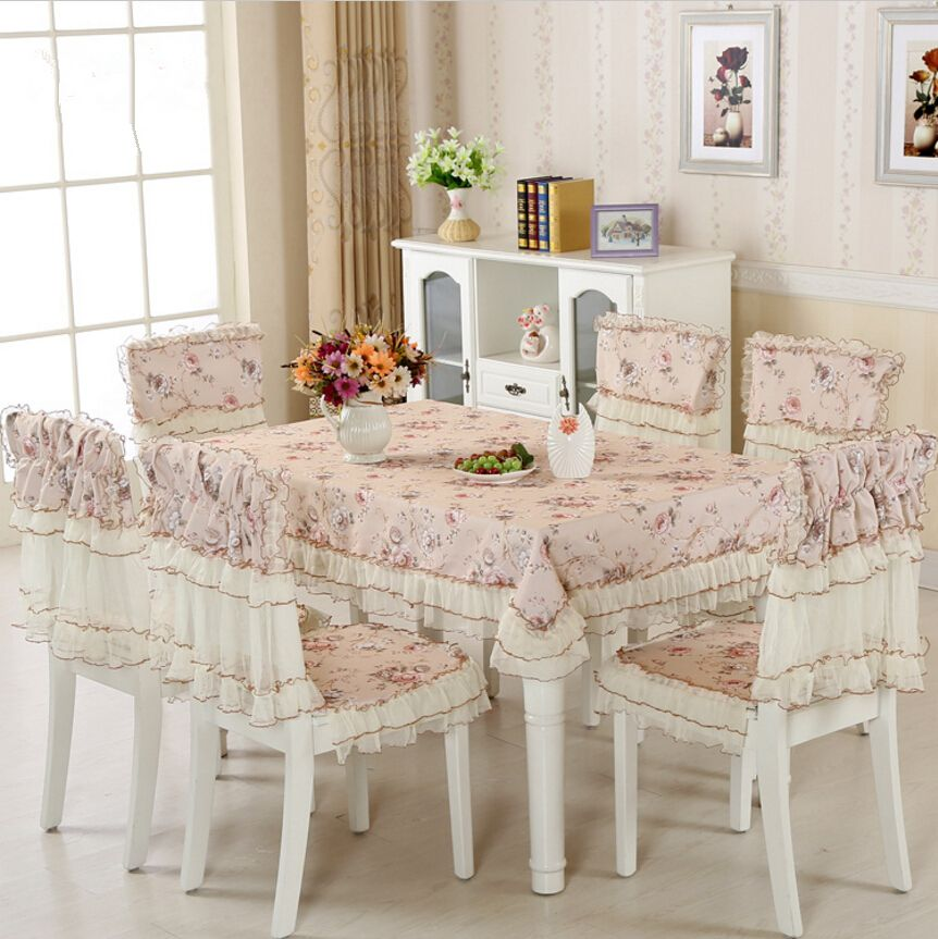 9 Pieces Set Cheap Fabric Table Cloth For Wedding Decor New Lace Tablecloth Dining Chair Covers Set C Tablecloth Dining Dining Chair Covers Coffee Table Cloth