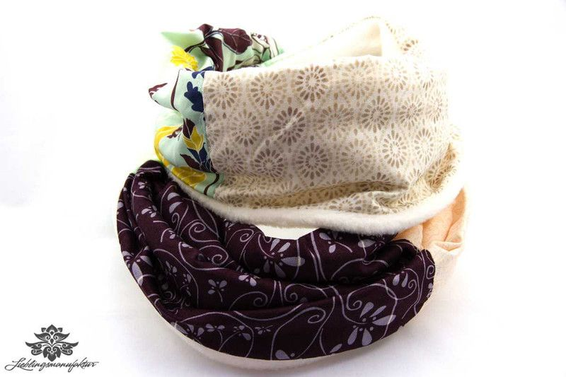 Winter Loop Schal braun beige weiß von #Lieblingsmanufaktur: Farbenfrohe Loop Schals, Tücher und mehr auf DaWanda.com
