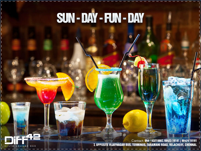 Relax Unwind And Have A Sizzling Sunday With Your Favourite Drink At Diff 42 7 Opposite Vijaynagar Bus Terminu Healthy Beer Cocktail Recipes Fun Cocktails