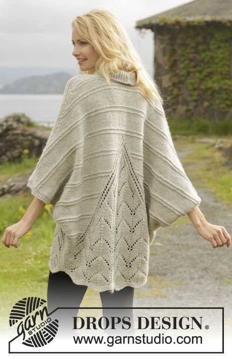 """Ripple Tide - Knitted DROPS jacket in garter st with lace pattern and shawl collar in """"Nepal"""". Size: S - XXXL. - Free pattern by DROPS Design"""