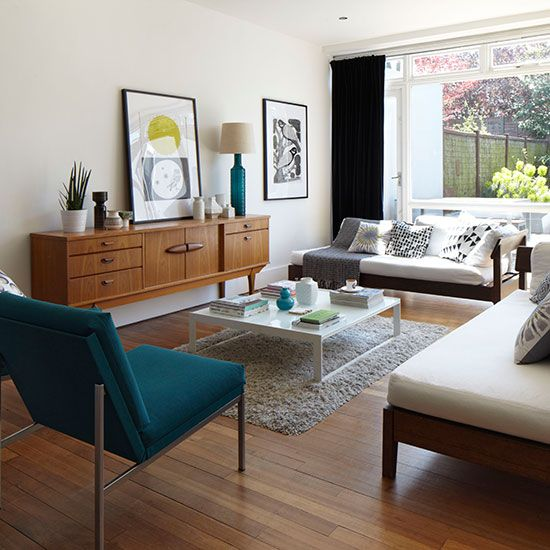 Need modern living room decorating ideas take a look at this white living room with · mid century